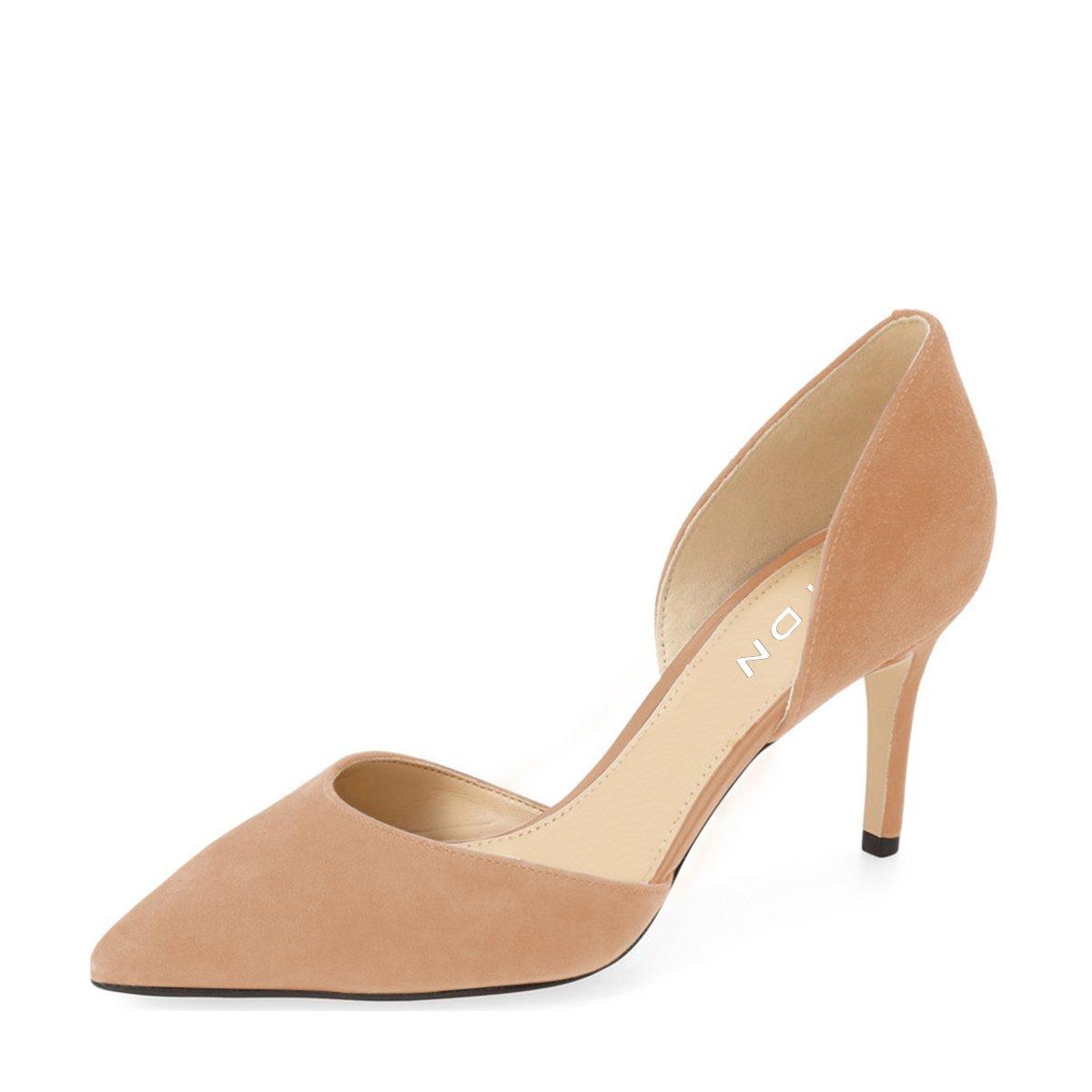 YDN Women Classic Low Heels D'Orsay Pumps Suede Pointed Toe Slip On Dressy Stilettos Shoes B01NBK5WDX 5 B(M) US Nude