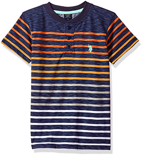 U.S. Polo Assn. Little Boys' Short Sleeve Striped Henley T-Shirt, Slub Black High Heat Orange, 7
