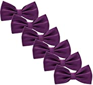 Men's Bow Tie for Wedding Party - 6 Pack of Solid Color Adjustable Pre Tied Bow