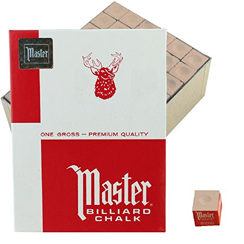 Gold Pool Cue - Master Billiard/Pool Cue Chalk, Gross Box, 144 Cubes, Gold