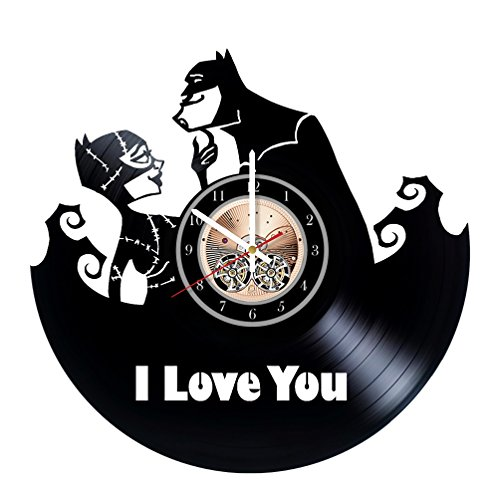 Batman and Catwoman lovestory Unique Wall Clock for bedroom, bathroom, kitchen, livingroom - gift idea for birthday, wedding, Mother's Day, Valentine's Day]()