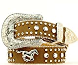 girls cowgirl belt - Nocona Girl's Running Horse Conchos Belt, Medium Brown Distressed, 28