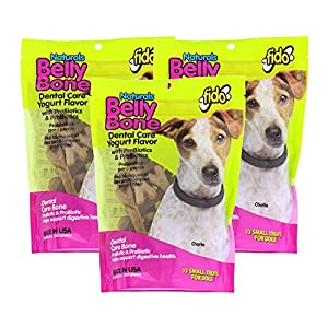 Fido 3 Pack of Natural Belly Bone Dental Care Dog Treats, Small Size Treats, Yogurt Flavor with PreBiotics and ProBiotics