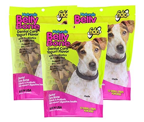 Fido 3 Pack of Natural Belly Bone Dental Care Dog Treats, Small Size Treats, Yogurt Flavor with PreBiotics and ProBiotics