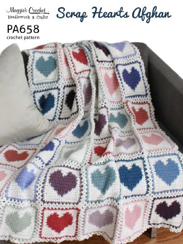 Crochet Pattern Scrap Hearts Afghan PA658-R