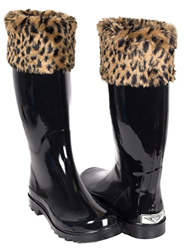Mock by Women Young Fur Sock Knit Faux Rain amp; Boots Cuff Sock Styles Quilted Leopard Forever Rubber TzTnwqBPZ