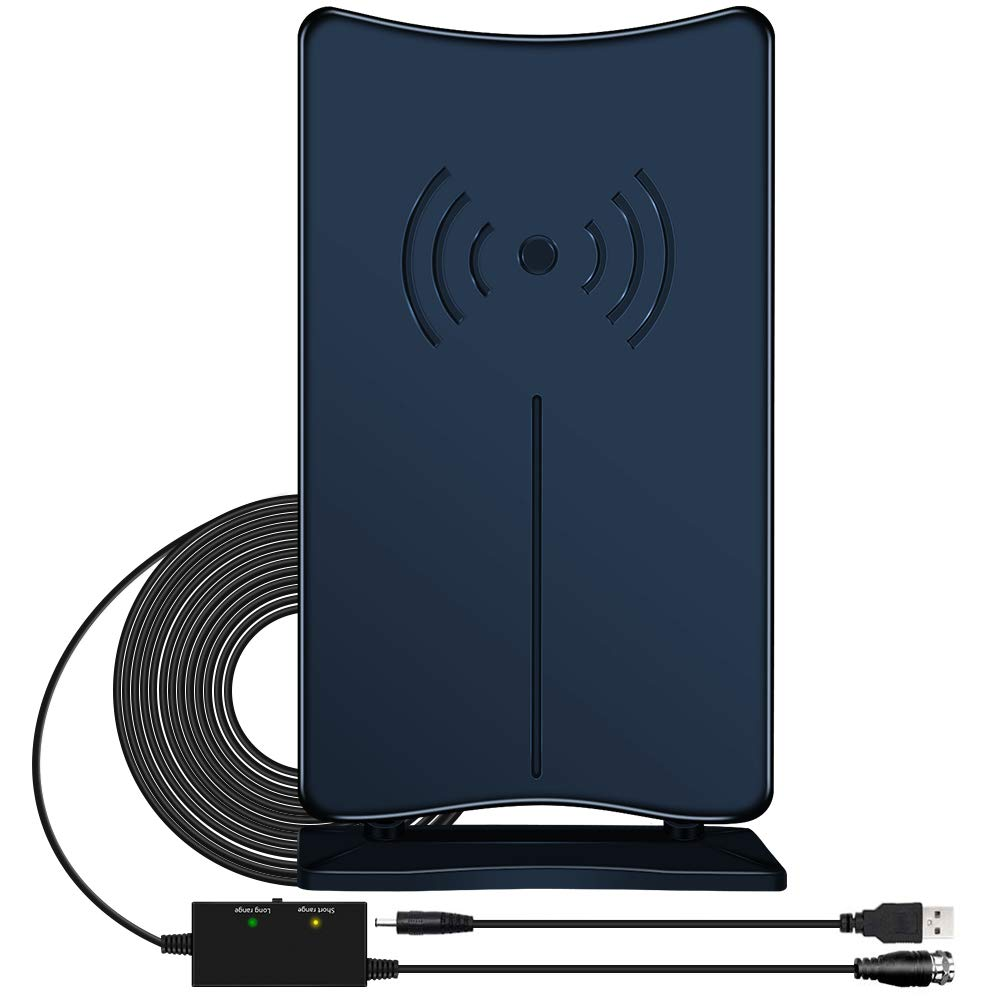 Amplified HD Digital TV Antenna, JoyGeek Indoor HDTV Antenna Stand 80-120 Miles Long Range Signal Wave Support 4K 1080P HD Freeview Powerful Home Amplifier Signal Booster 16ft Coax Cable USB Power