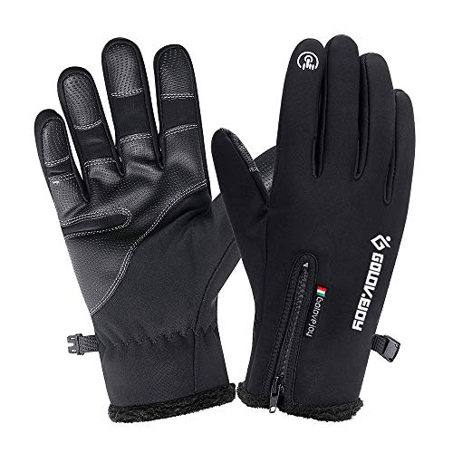 Waterproof Gloves Thermal (HOMFUL Winter Touchscreen Gloves, Waterproof Windproof Thermal Thick Gloves, Cycling Skiing Driving Outdoors Gloves for Men&Women)