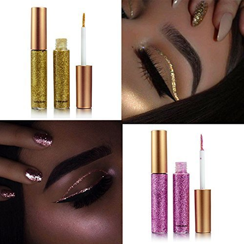 10 Colors Liquid Glitter Eyeliner Metallic Shimmer Glitter Eyeshadow Pigment Eyebrown Shimmer Waterproof Face Lips Art for Party Festival Makeup by Bestland (Image #6)