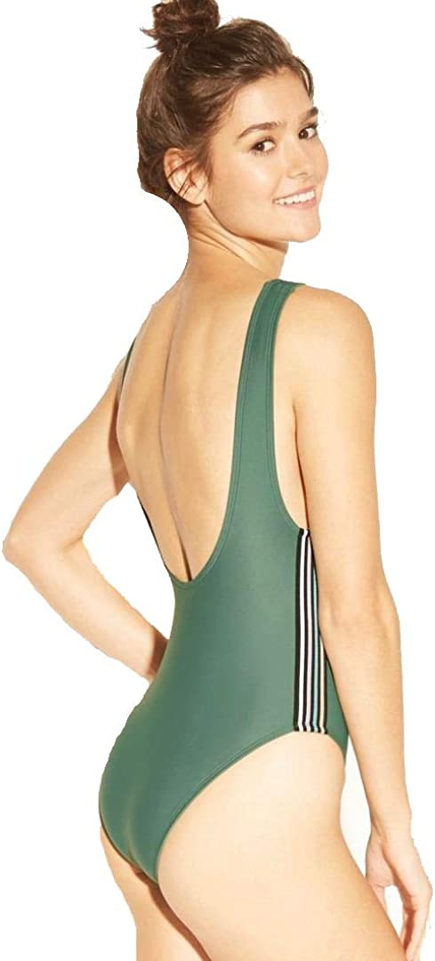 Olive Xhilaration Womens Scoop Back Sport Elastic One Piece Swimsuit