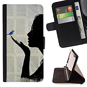 Momo Phone Case / Flip Funda de Cuero Case Cover - Book Fairytale Blue Bird Painting - Samsung Galaxy S5 Mini, SM-G800