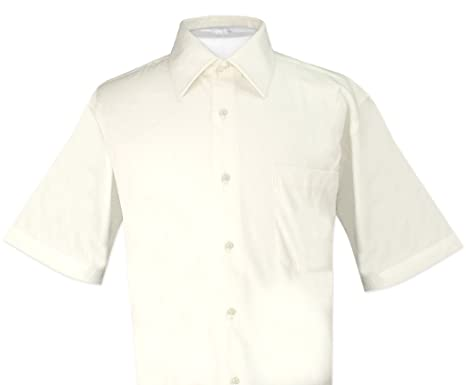 571f5501b Biagio 100% Cotton Men's Short Sleeve Solid Cream Color Dress Shirt Size  Small
