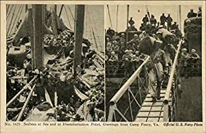 Seabees at Sea and at Disembarkation Point Camp Peary, Virginia Original Vintage Postcard by CardCow.com