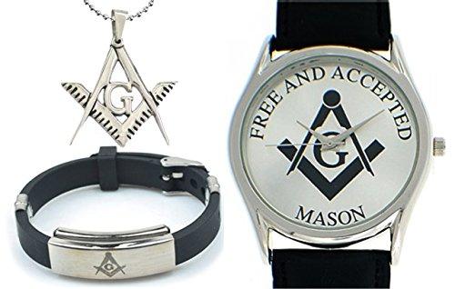 3 Piece Jewelry Set - Freemason Pendant, Bracelet & Masonic Watch Free and Accepted Masons. Black Leather Band White Face Dial Freemasonry Watch