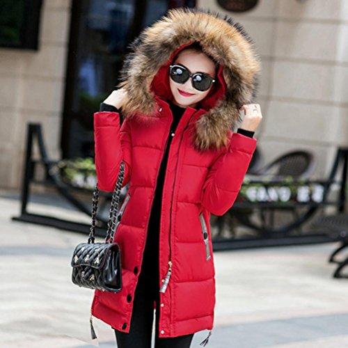 cálido chaqueta abrigo parka SHOBDW abajo Rojo Mujeres delgado de invierno acolchado encapuchado largo tZPAxZq