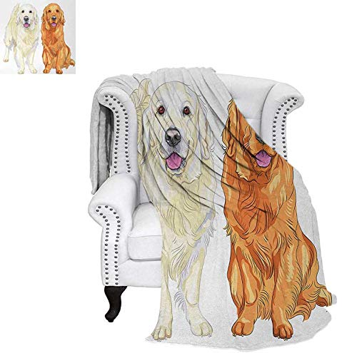 (Velvet Plush Throw Blanket Smiling Pale and Red Gun Dog Breed Sitting and Staying Thoroughbred Throw Blanket 60