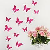 Wandkings 3D Schmetterlinge in PINK, 12 STÜCK im Set mit Klebepunkten