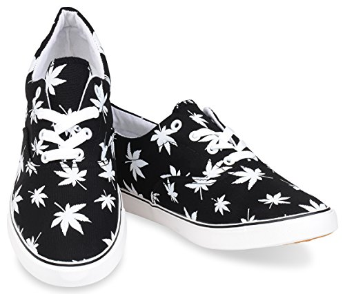 Leaf Skate Hipster Weed Marijuana Black Mens Shoe UTTqzxt