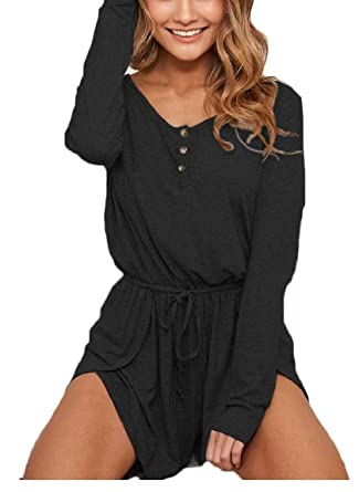 cd31c91e421 Amazon.com  HTOOHTOOH Women s Casual Ribbed Button Long Sleeve Waist Drawstring  Jumpsuit Romper  Clothing
