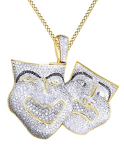 Simulated Black & White Cubic Zirconia Comedy & Tragedy Masks Hip Hop Pendant in 14k Yellow Gold Over Sterling Silver (13.97 Cttw) by AFFY