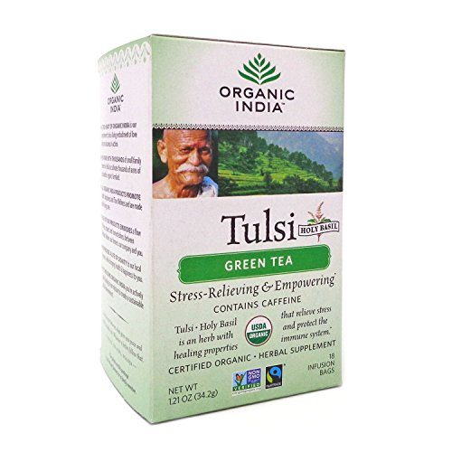 (Organic India Tulsi Green Tea Classic, 18-Count Teabags (Pack of)