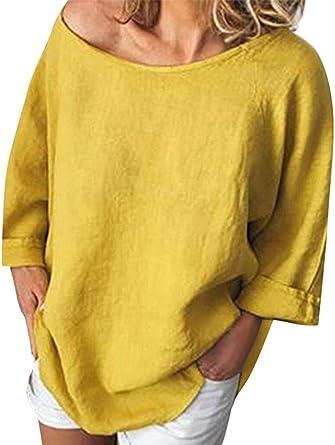 XGBDTJ Camisa De La Túnica De Lino De Mujer Camisa De Lino ...