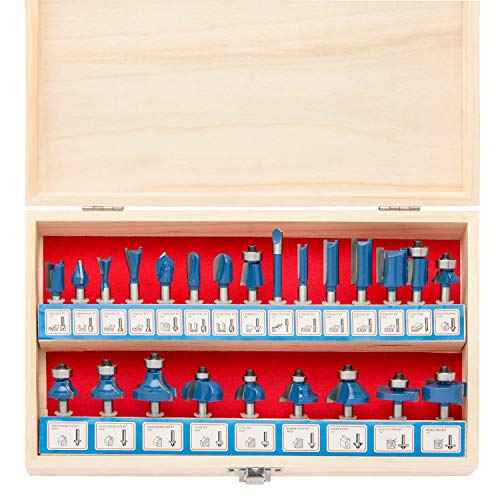 Hiltex 10108 Tungsten Carbide Router Bit Set, 24 Piece | 1/4-Inch Shank