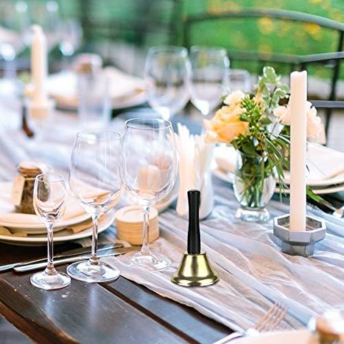 Koogel Handglocke, 2 STK. Hand Tischglocke Tischklingel Rezeptionsklingel Holzgriff Gold Silber Klingel für Schule Hotelservice Weihnachtsdeko