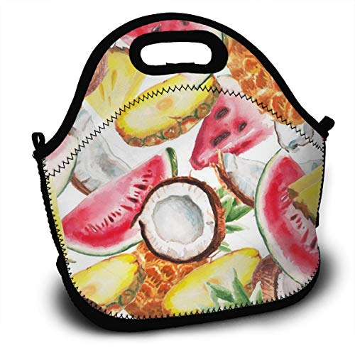 (Lcokin Customized Watermelon, Coconut, Sliced Pineapple Thermal Insulation Lunch Bag, Personal Handbag Lunch Bag)