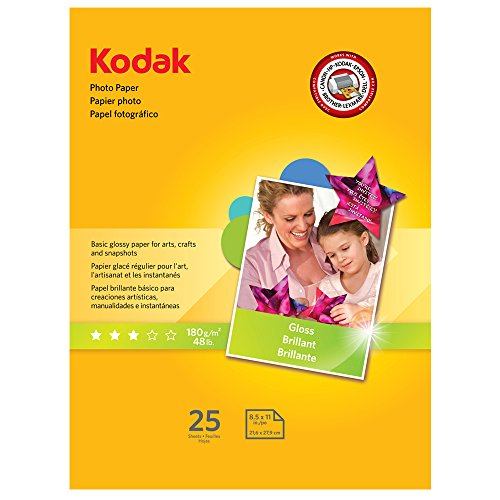 "Glossy Photo Quality Inkjet - Kodak Photo Paper for inkjet printers, Gloss Finish, 7 mil thickness,  25 sheets, 8.5"" x 11"" (1912369)"