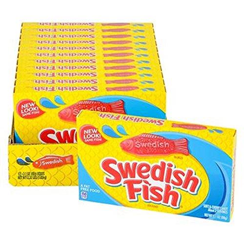 Swedish Fish Theatre Box Candy. Twelve 3.1oz Boxes. -