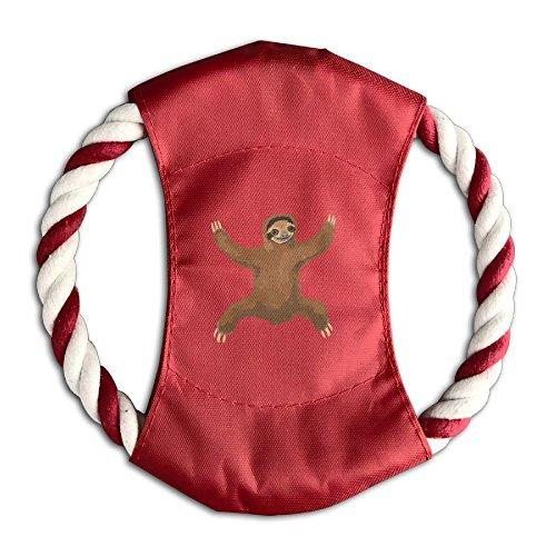 YYshider Sloth Love Hug Lovely Pet Training Canvas Flying Discs Large Frisbee With Rope Ring