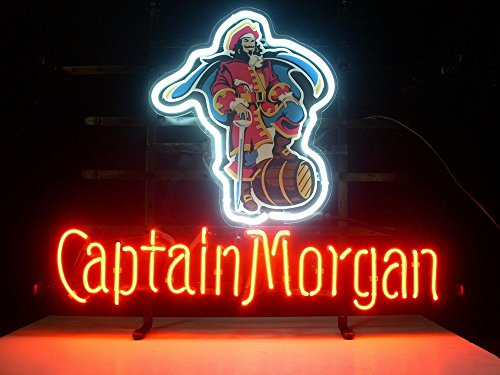 QUEEN SENSE® Captain Morgan Pirate Real Glass Neon Light Sign Home Beer Bar Pub Recreation Room Game Room Windows Garage Wall Sign L26X Captain Morgan Neon Signs