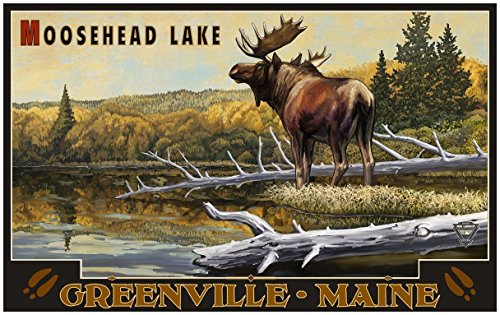 Moosehead Lake Greenville Maine Moose Travel Art Print Poster by Paul A. Lanquist (24
