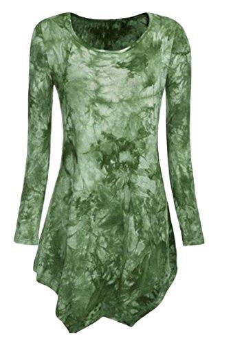 Hem Sleeve Tie Long Print Irregular Green Dress Autumn Women O Dye Mini Neck Jaycargogo wYTvqT