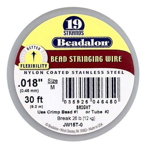 Bright Beadalon 7 Strand Beading (Beadalon 19-Strand Bead Stringing Wire, 0.018-Inch, Bright, 30-Feet)