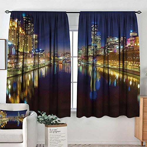 RenteriaDecor City,Boy's Iving Room Curtain Night in Melbourne River 52