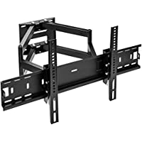 Sunydeal TV Wall Mount Bracket Tilt Swivel Full Motion Dual Articulating Arm for most 24 to 65 Inches LED, LCD Plasma Smart TV, VESA up to 600x400mm and 110 LBS, with Level Adjustment