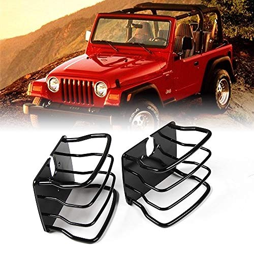 JeCar Jeep Tail Lights Protector Metal Taillight Rear Lamp Cover Guard for 1997-2006 Wrangler TJ-Pair(Black)