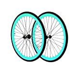 The 45mm Wheelset will elevate the performance of any bicycle riding on these bad boys to uncharted territories. Both front and rear come equipped with loose ball bearing hubs and black spokes. The rear hub come equipped with a 16t Fixed cog and 16t ...