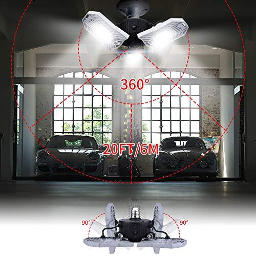 LED Garage Light Motion Detection - Motion Activated Aluminium LED - Best LED Light Bulb for Garage - 6000LM CRI Garage LED Lighting System - 3 Adjustable Panels - 2018 New Design LED Garage Lighting by JMTGNSEP (Image #5)