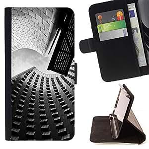 For Apple iPhone SE / iPhone 5 / iPhone 5S Case , Arquitectura Calle y Edificios- la tarjeta de Crédito Slots PU Funda de cuero Monedero caso cubierta de piel