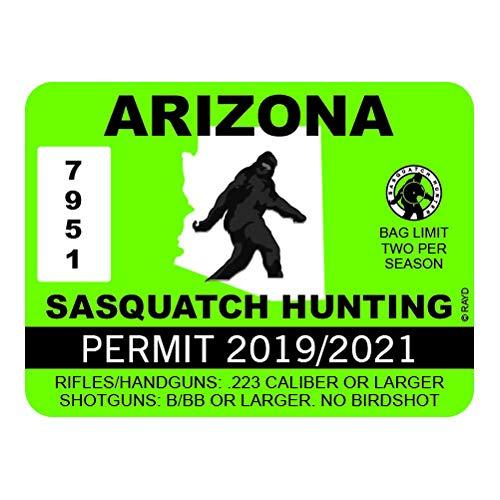"RDW Arizona Sasquatch Hunting Permit - Color Sticker - Decal - Die Cut - Size: 4.00"" x 3.00"""