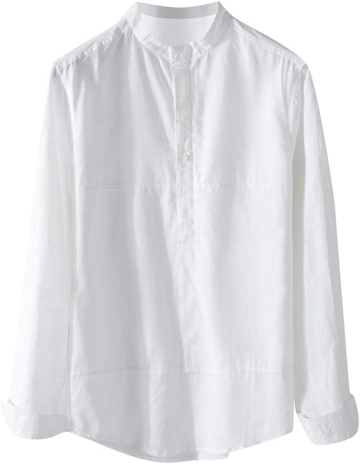 ღLILICATღ Camisa para Hombre Lino Blusa Casual de Manga Top Cuello O de Color Sólido Blusas Suelta Camisas de Trabajo Suave Cómodo Transpirable: Amazon.es: Deportes y aire libre