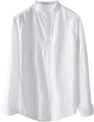 SoonerQuicker Camisa de Hombre T Shirt Camisa Causal de los Hombre Botón de Manga Larga Top Algodón Lino Color sólido Blusa Suelta Blusa tee: Amazon.es: Ropa y accesorios