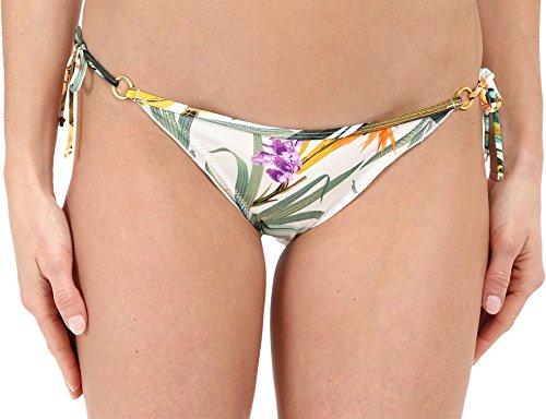 Body Glove Women's Waikiki Tie Side Brasilia Bikini Bottom, Ivory/Multi, Small
