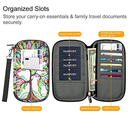 Family Passport Holder, Fintie RFID Blocking Zipper Case Document Organizer, Love Tree by Fintie (Image #5)'