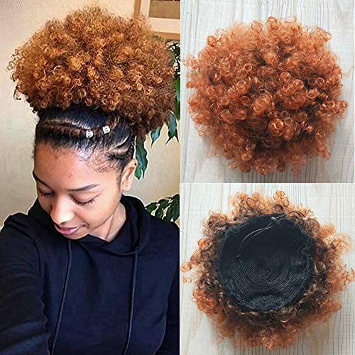 Drawstring Synthetic (BEIRA Synthetic Afro Puff Drawstring Ponytail Short Kinky Curly Hair Bun Extension Donut Chignon Hairpieces Wig Updo Hair Extensions with Two Clips For African American Black Women (T1B/30))