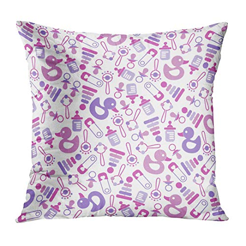LOULNN Throw Pillow Cover Born Pattern for Baby New Greeting and Announcement Bottle Birth Birthday Decorative Pillow Case Home Decor Square 18x18 Inches Pillowcase