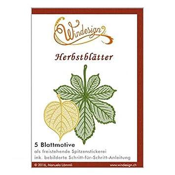 Windesign Stickmuster-Vorlagen CD -- Motiv Herbstblätter -- 5 ...